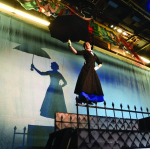 Mary Poppins smoothly flies over the set at the Lewiston Civic Theater, made possbile by a high tech system of cables and pulleys