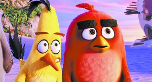 "This image released by Sony Pictures shows the characters Chuck, voiced by Josh Gad, left, and Red, voiced by Jason Sudeikis, in a scene from ""The Angry Birds Movie."" (Sony Pictures via AP)"