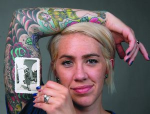 Katie Rigby of Lewiston has a tattoo of her grandmother who served during WWII.