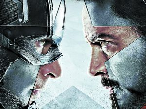 "Captain America and Iron Man face off in ""Captain America: Civil War"" over a registration act."