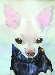 """""""Rambo in a Turtleneck"""" is a painting by DeeDee Wood."""