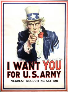 The classic American war poster is Uncle Sam Wants You from World War I by James Montgomery Flagg in 1917, one of many original posters of World War I and II on display at the LCSC Center Arts & History in downtown Lewiston.