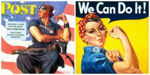 On the left is Norman Rockwell's portrait of a woman named Rosie with a rivet gun. On the right, a Westinghouse poster designed to increase productivity during WWII.