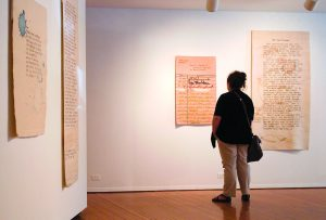 Tapestries by Sarah Swett are part of a show at the Prichard Art Gallery in Moscow.