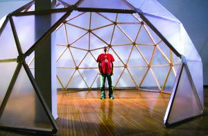 """Andy Behrle talks about his art work, """"hydrodome,"""" making its debut at the Prichard Art Gallery in Moscow."""