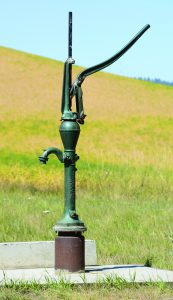 Fresh water is available with just a few strokes of the water pump handle.