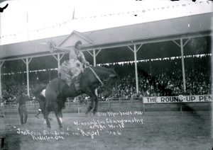 Jackson Sundown rides  to the Saddle Bronc Championship of the World at Pendleton in 1911. (Image from Pendleton USA)