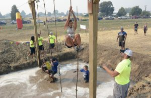 The rope climb is one of the course's most challenging obstacles each year.