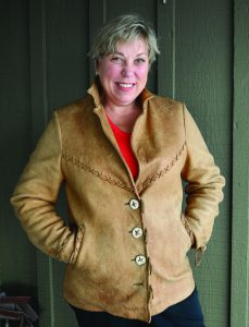 One of Julie Pierce's favorite creations is a short elk hide jacket made from three 50-year old hides taken on the Olympic Peninsula.