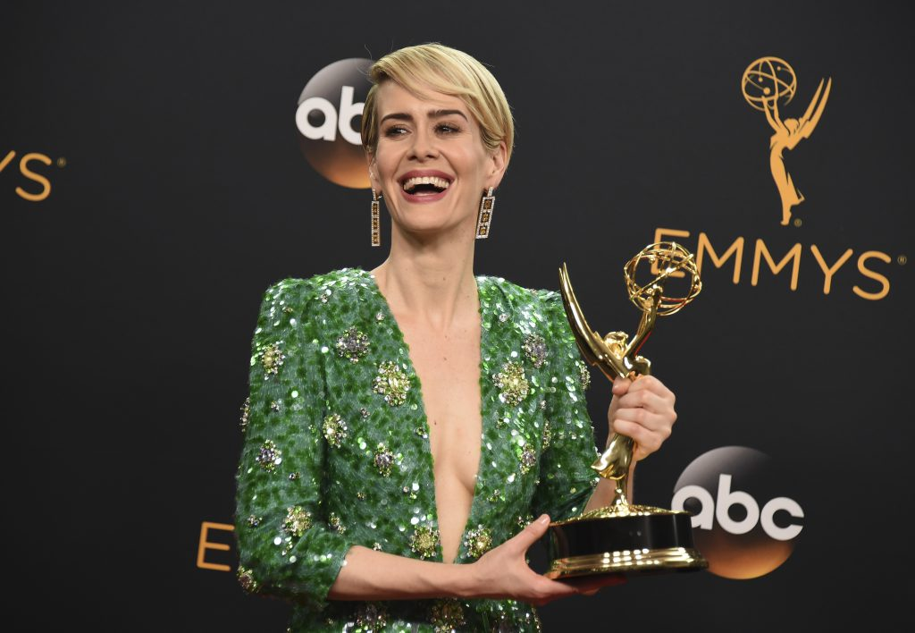 "Sarah Paulson winner of the award for outstanding lead actress in a limited series or a movie for ""The People v. O.J. Simpson: American Crime Story"" poses in the press room at the 68th Primetime Emmy Awards on Sunday, Sept. 18, 2016, at the Microsoft Theater in Los Angeles. (Photo by Jordan Strauss/Invision/AP)"