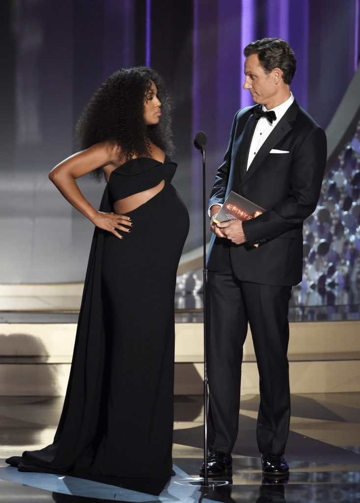 Kerry Washington, left, and Tony Goldwyn present the award for outstanding writing for a limited series, movie or a dramatic special at the 68th Primetime Emmy Awards on Sunday, Sept. 18, 2016, at the Microsoft Theater in Los Angeles. (Photo by Chris Pizzello/Invision/AP)