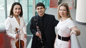 Members of the Prima Trio are (from left) Gulia Gurevich on violin and viola Boris Allakhverdyan on clarinet and Anastasia Dedik on piano.
