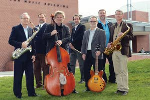 """Members of Jazz Northwest are (back row) David Turnbull on trumpet, Dave Jarvis on drums and Brian """"David"""" Ward on piano; and (front row) Greg Yasinitsky on saxophone, Dave Snider on string bass, Brad Ard on guitar and Dave Hagelganz on saxophone. Sarah Miller is not pictured."""