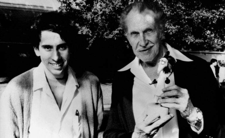"Director Tim Burton and Vincent Price pose for a photograph during the filming of Burton's 1982 short film ""Vincent."""