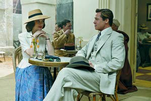 "Marion Cotillard and Brad Pitt star as spies who fall in love in ""Allied."" -- Associated Press"