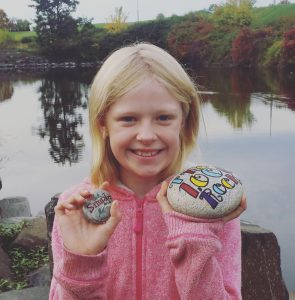 Chloe Layborn, 10, daughter of Jamie and Matt Layborn of Lewiston, found the 1000 Rock commemorating 1000 LC Valley Rocks Facebook members and accompanied by a prize, courtesy of local businesses.