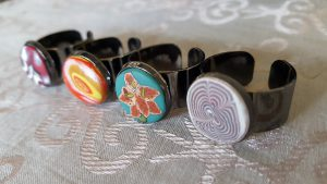 Rings by Mirabzadeh with a polymer clay design.