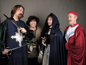Players in the Three Musketeers production by the Lewiston Civic Theater include Matthew DeBerard as Athos, Kayla Comer as Sabine, Rebecca Hardin as Milady and Paul  Segren as Cardinal Richelieu.