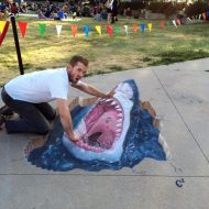 3-D chalk artist knows how to fool the eye