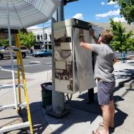 History-wrapped traffic signal boxes come to downtown Lewiston